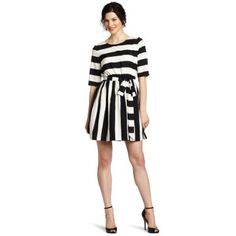 Vince Camuto Women`s Wide Stripe Tie Waist Dress $150.00
