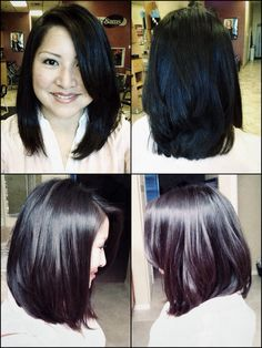Long layered, A-line bob with side bang. All-angle view. Blow dried with round brush. Hair spray & shine spray applied. The handy work of Fantastic Sams.