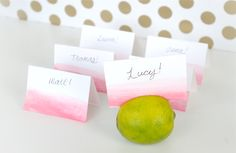 Having a laid back and fun wedding? These DIY ombre painted place cards stuck in limes are perfect for you to make that will impress your guests! Stick the pink and white cards into limes and it will add a brightness to your wedding reception. Wedding Places, Wedding Place Cards, Our Wedding, Wedding Stuff, Wedding Reception, Summer Wedding, Budget Wedding, Wedding Things, Budget Bride