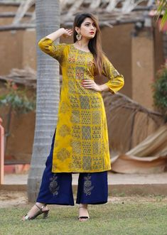 Indian Bollywood Designer Beautiful Digital Print Rayon Yellow And Blue Print Kurti Palazzo for Girls&Women.Free Express Shipping In USA/UK.