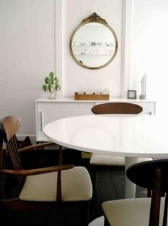 tulip table with danish chairs on Apartment Therapy