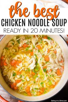 Homemade Chicken Noodle Soup Recipe - Ready in 20 minutes You can enjoy Homemade Chicken Noodle Soup Recipe in just 20 minutes. If you are craving soup, this is the best homemade chicken noodle soup! Crockpot Chicken Noodle Soup, Easy Homemade Chicken Noodle Soup Recipe, Healthy Soup Recipes, Chicken Recipes, Cooking Recipes, Recipe Chicken, Simple Chicken Noodle Soup, Chicken Noodle Souo, Good Soup Recipes