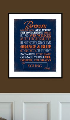 Denver Broncos Print by SportingStandouts on Etsy, $40.00