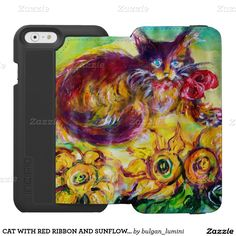 CAT WITH RED RIBBON AND SUNFLOWERS INCIPIO WATSON™ iPhone 6 WALLET CASE