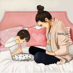 mom and baby Mother And Daughter Drawing, Mother Art, Baby Silhouette, Sarra Art, Baby Elefant, Pregnancy Art, Girly M, Cute Couple Art, Girly Drawings