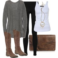 black leggings, gray sweater, white tank, brown boots and bag