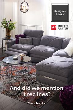 Meet your new BFF (Best Furniture Friend). Unbelievably stylish with metal trim and quilted cushions and insanely comfortable thanks to all those tech features. New Living Room, Home And Living, Living Room Decor, Bedroom Decor, Dining Room, Wall Decor, Value City Furniture, Cool Furniture, Living Room Furniture