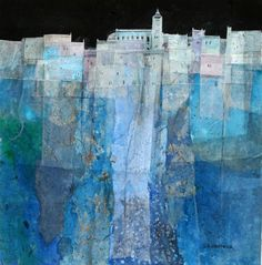 Gerald Brommer - Blue Hilltown - watercolor and collage