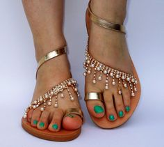 GOLD BRIDAL Sandals, Luxurous Wedding Leather Sandals, Rhinestones Shoe, Handmade Greek Genuine Leather Sandals, Romantic Sandals Luxury by ENOTIA on Etsy