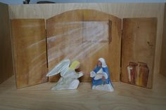 The Annunciation of Mary Wood Figure and Backdrop by soodow Jesus Crafts, Catholic Crafts, Catholic Kids, Christmas Drama, A Christmas Story, Christmas Ornament, Good Shepard, The Good Shepherd, Mystery Crafts
