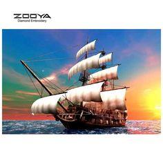 ZOOYA Diamond Embroidery 5D DIY Diamond Painting Sailboat Sunset Sea Diamond Painting Rhinestone Cross Stitch Decoration CJ340 #Affiliate