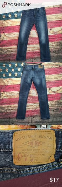 American Eagle Outfitter jeans slim size 30/32 Men's American Eagle Outfitters blue jeans have a wear at bottom of the Jean as showing has a small hole on the bottom right leg where stitching came apart and both pant bottoms are cut as shown in the picture. American Eagle Outfitters Jeans Slim