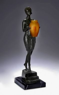 French Art Deco Egyptian Revival figure lamp – Pierre Le Faguays  circa 1925