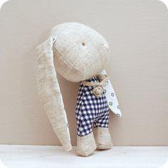 Leaf-loving bunny soft stuffed toy by LeebeeDesign on Etsy