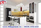 Tủ bếp đẹp Acrylic vân gỗ trắng đen phối đảo bếp có công năng sử dụng tối ưu txvn1 - Tu bep dep Acrylic van go trang den phoi dao bep co cong nang su dung toi uu txvn1