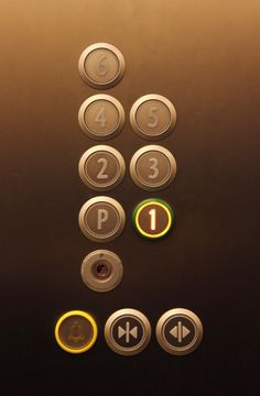 Maybe a print of elevator buttons by the front door for a Wonka party? Elevator Buttons, Elevator Lobby, Lifted Cars, Go Up, Door Detail, Ground Floor, Corridor, Lobbies, Willy Wonka