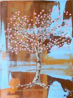 Enjoy the Moment Cherry Blossom Tree Folk Art Painting by Jeanne Fry | ConsciousArtStudios - Painting on ArtFire