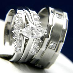 0.95ct Clear Solitaire CZ Stainless Steel Engagement Wedding Brass Band Ring Set #InterStoreJewelry