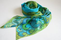 Peacock Scarf. Hand Painted Silk. Turquoise. Peacock by silkiness, $46.00