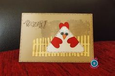 handmade Easter card from Scrap and beyond ... luv the  hen/egg combo ... grunge-mod look ... kraft base with faux stitiching ... funky fence cut with Craftrobo ... fun card ...