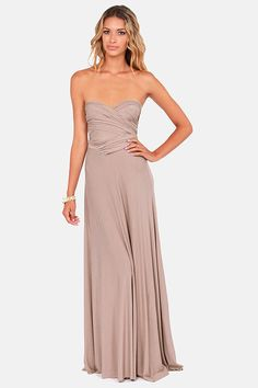 @MYN Image, this color's ok right?! LOVE this dress! Tricks of the Trade Taupe Maxi Dress at LuLus.com!