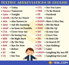 Texting Abbreviations: Popular Text Acronyms in English Popular Texting Abbreviations in English English Speaking Skills, English Writing Skills, English Vocabulary Words, English Phrases, Learn English Words, English Language Learning, English Lessons, English Grammar, Text Abbreviations