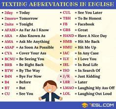 3034d5d3d 120+ Popular Texting Abbreviations in English | SMS Language - 7 E S L  Anglická Slovná Zásoba