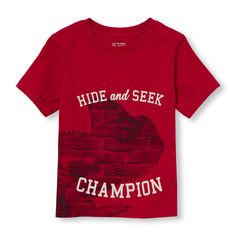 Toddler Boys Short Sleeve 'Hide And Seek Champion' Photo-Real Chameleon Graphic Tee