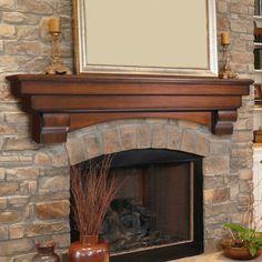 Pearl Mantels Auburn Traditional Fireplace Mantel Shelf - Fireplace Mantels & Surrounds at Hayneedle Wood Fireplace Mantel, Fireplace Shelves, Rustic Fireplaces, Traditional Fireplace Mantel, Build A Fireplace, Wood Fireplace, Fireplace Remodel, Fireplace Decor, Fireplace Makeover