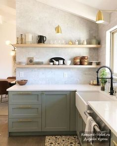 Sage Green Kitchen, Green Kitchen Cabinets, New Kitchen, Upper Cabinets, Open Shelving In Kitchen, Open Cabinet Kitchen, Ikea Kitchen Shelves, 1940s Kitchen, Design Jobs