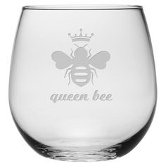 Enjoy your favorite merlot or chardonnay in this stemless wine glass, featuring a playful bee etching. Product: Set of 4 stemle...