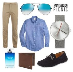 """""""Spring picnic"""" by jason-woodley ❤ liked on Polyvore featuring Brooks Brothers, Lacoste, Giorgio Armani, Ray-Ban, Karl Lagerfeld, Tod's, men's fashion and menswear"""