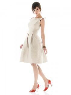 Sheath / Column Bateau Sleeveless Knee-length  Satin Ivory Bridesmaid Dress