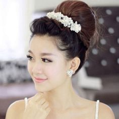 Amazon.com : Voberry®new Arrival Hair White Pearl Crystal Bride Headdress By Hand Wedding Dress Accessories Bridal Hair Jewelry : Beauty