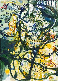 Childhood by the seaport by John Olsen (born oil on composition board Abstract Landscape, Landscape Paintings, Abstract Art, Landscapes, Abstract Paintings, Oil Paintings, Gerhard Richter, Australian Painting, Australian Artists
