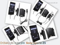 Nové držiaky do auta pre Sony Xperia Z5. Pasívny držiak Brodit pre pevnú montáž v aute, aktívny s CL nabíjačkou, USB alebo s Molex konektorom.