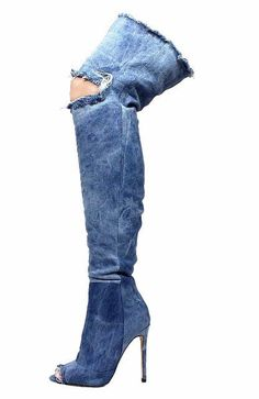 It's CHRISTELLE clear that denim is a girls best friend! Fashionista's can't get enough of this thigh high boot featuring washed denim material, frayed details with a slit at the knee, stiletto heel and side zipper for closure.