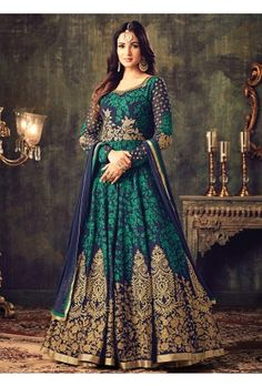 Blue and Green Embroidered Georgette Anarkali Suit