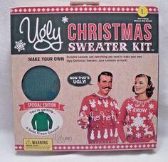 Ugly Christmas Sweater Kit Mens LG  Green Special Edition NIB #UglyKits