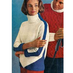 Knitting Pattern Striped Turtleneck Sweater Wide blue bands stripe the sides and sleeves from center-meeting triangles to a snowy high rolled turtleneck. Not only will you look great wearing this sweater, you will be warm as well. Ski Sweater, Teddy Boys, Vintage Ski, Thick And Thin, Striped Turtleneck, Blue Band, Staple Pieces, Winter Looks, Looking For Women