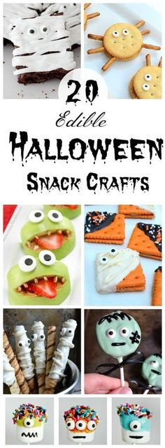 Looking for a fun and delicious way to sweeten up the Halloween season? These fun and simple Halloween Snack Crafts for kids are just what you've been looking for! #Halloween #Halloweenfood #Halloweentreats