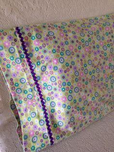 Girl\u0027s Flower Flannel Pillowcase/ Purple Rick Rack/ Green Purple Pink Blue & Thanks to The Crafty Gemini on youtube.com for great pillowcase ... pillowsntoast.com