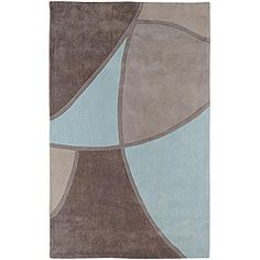 Hand-tufted Contemporary Retro Chic Green Grey/Blue Abstract Rug (5' x 8')