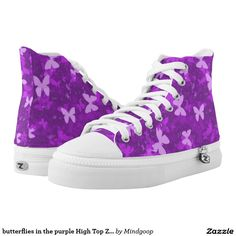 butterflies in the purple High Top ZIPZ Shoes Printed Shoes