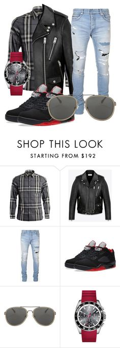 A menswear look from February 2016 featuring mens gray dress shirt, mens destroyed jeans and mens moto jacket. Browse and shop related looks. Mens Destroyed Jeans, Grey Shirt Dress, Moto Jacket, Lacoste, Balmain, Yves Saint Laurent, Burberry, Menswear, Van