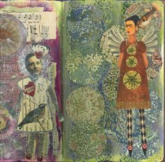 Collage and ink - Gill Cook art journal