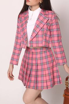 Cher Blazer Set in Pink Tartan - please allow 3 weeks for delivery item will come before halloween If you need this sooner, express delivery is available for extra cost, simply… Source by - Teen Fashion Outfits, Kpop Fashion, Girly Outfits, Retro Outfits, Mode Outfits, Kawaii Fashion, Cute Casual Outfits, Grunge Outfits, Stylish Outfits