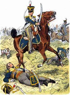 Light dragoons at Waterloo, British Army Uniform, British Uniforms, Waterloo 1815, Battle Of Waterloo, Military Art, Military History, Military Uniforms, Empire, Conquistador