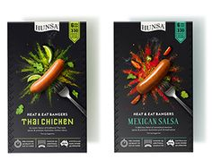 HUNSA'S Heat & Eat Bangers uses a colourful explosion of herbs and spices for their 4 unique flavour-infused sausages. Packaging | Dessein, Australia