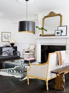 Love the mix of old and new, black and gold.